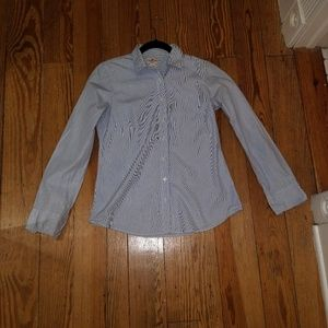 J. Crew Tops - J. Crew blue and white striped tailored shirt